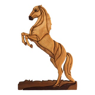 Vintage Segmented Wood Equestrian Wall Decor For Sale