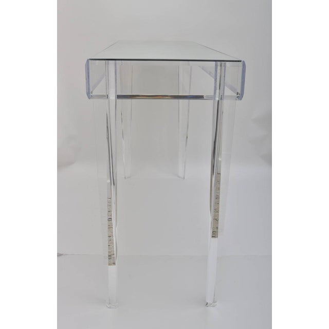 """Vintage Lucite and Mirror Console 60"""" - Floor Sample For Sale - Image 11 of 13"""