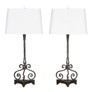 Pair Modern Steel Iron Lamps Found in France