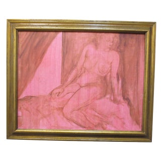 1970's Painting - Nude All in Red