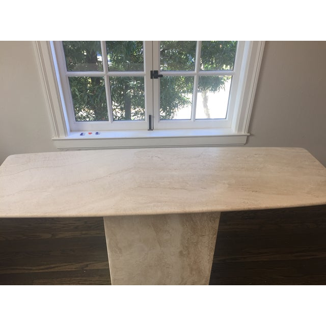 Italian Travertine Marble Console Table - Image 5 of 8