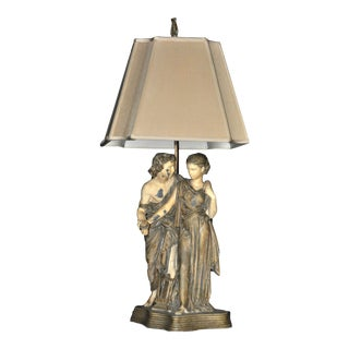 Antique Painted Metal Lamp With Sculptural Base of Man and Woman With Torch and Lyre For Sale