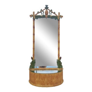Gampel & Stoll Palm Beach Hollywood Regency Faux Bamboo Floor Mirror For Sale