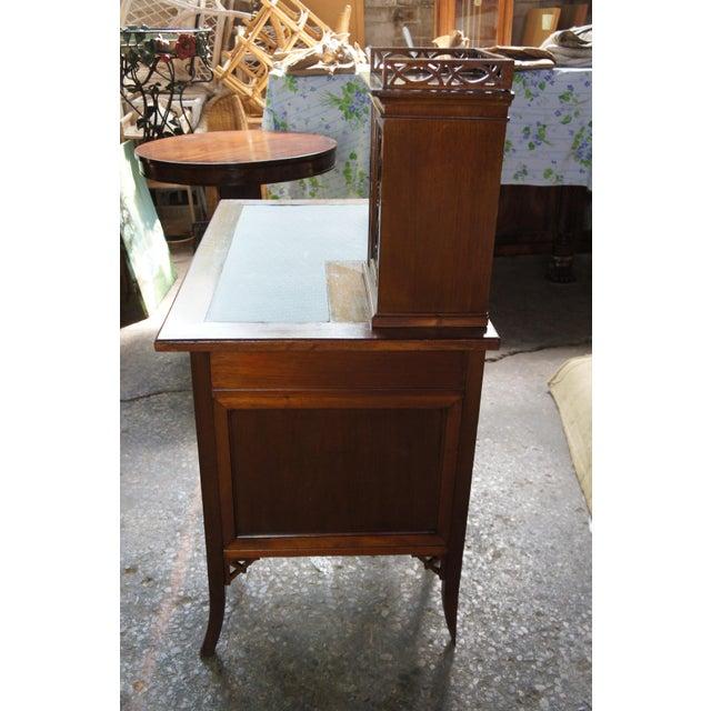 Antique Victorian German Desk Green Vinyl Top Gothic Pierced Fret Board Writing Desk For Sale - Image 4 of 13