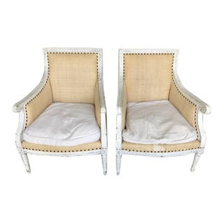 White & Raffia Oly Studio Hanna Chairs - A Pair For Sale