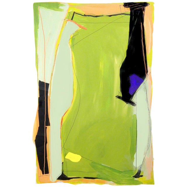 Contemporary Abstract Vertical Mixed Media Painting For Sale