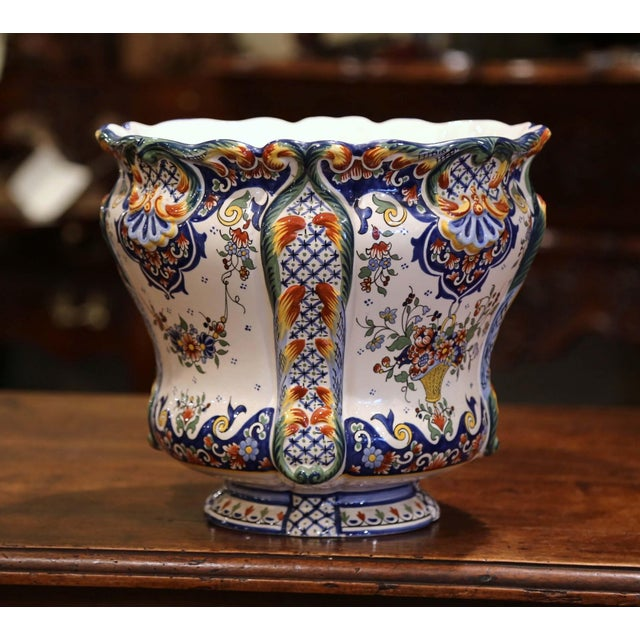 This elegant, antique ceramic cachepot was crafted in Normandy, France, circa 1920. Round in shape, the Classic, colorful...