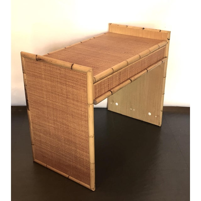 Rattan and Bamboo Bar with Server & Drawer - Image 2 of 4