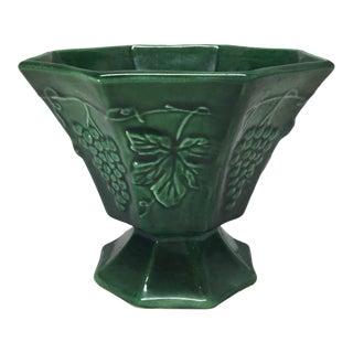 Vintage French Majolica Pedestal Bowl in Faux Malachite For Sale