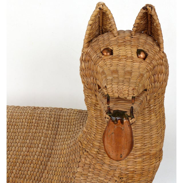 Mid-Century Modern 1970s Mexican Mario Lopez Torres Woven Reed & Copper Coyote Bench For Sale - Image 3 of 12