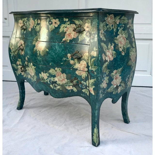 1970s 1970s Vintage French Hand-Painted Bombe 3-Drawer Chest For Sale - Image 5 of 10