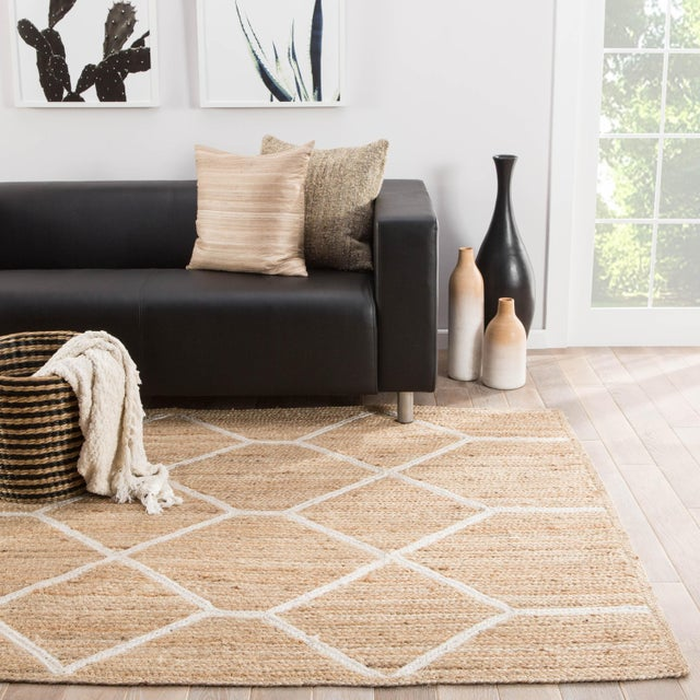 2010s Nikki Chu by Jaipur Living Aten Natural Trellis Beige & White Area Rug - 5' X 8' For Sale - Image 5 of 6