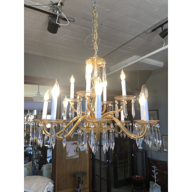 Elegant Mid Century Modern 1950s Amber Murano Glass Italian Chandelier. Newly rewired. Two tiers and 12 lights. Crystal...