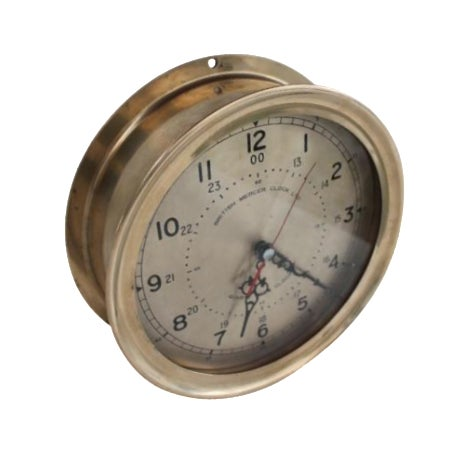 1940´s Nautical Round Solid Brass Wall Clock For Sale