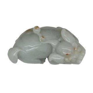 Hand Carved Chinese Natural Jade Pixiu Pendant Fengshui Figure For Sale