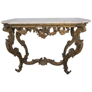 19th Century Italian Giltwood Console With Marble Top $4,400 For Sale