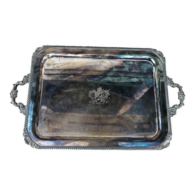 Vintage Silver on Copper Tray For Sale