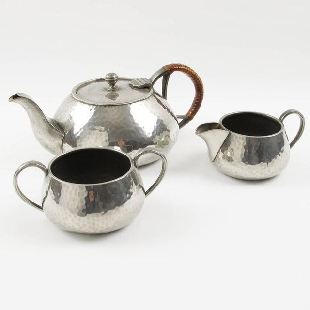 Art Nouveau Fenton Bros Ltd Sheffield England Art Nouveau Pewter Tea Coffee Serving Set For Sale - Image 3 of 11