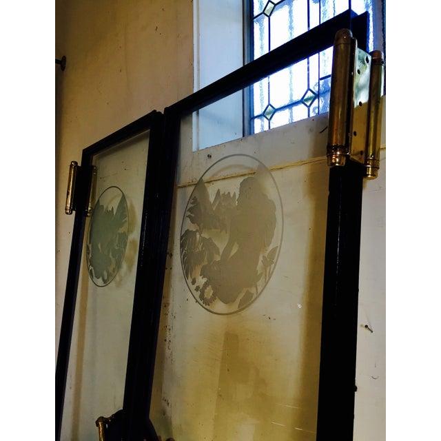 Art Nouveau Glass Cruise Ship Doors - Pair For Sale - Image 4 of 11