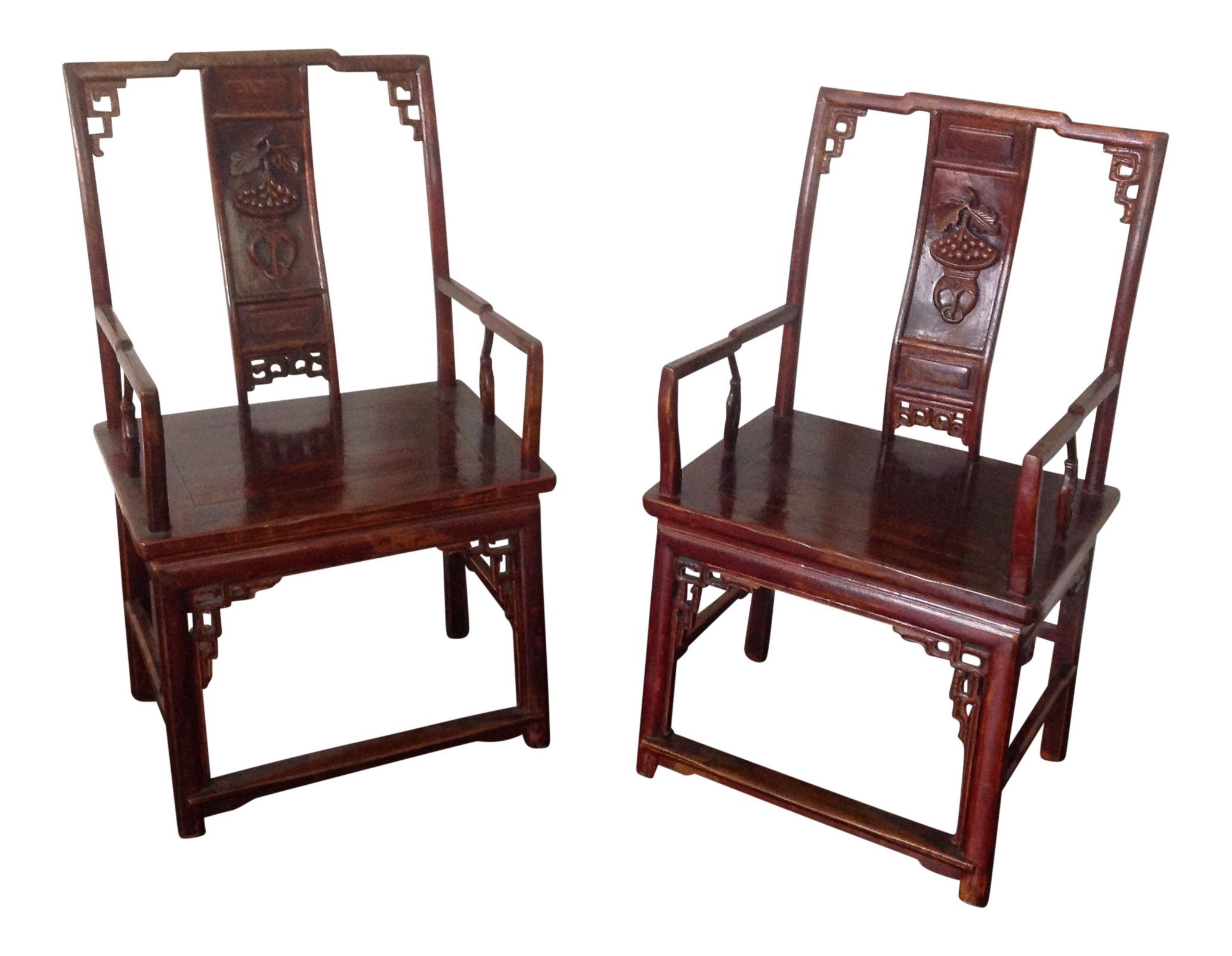 Merveilleux Ornate Asian Wooden Chairs   A Pair
