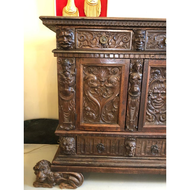 19th Century Renaissance Revival Hand Carved Cabinet For Sale - Image 4 of 13
