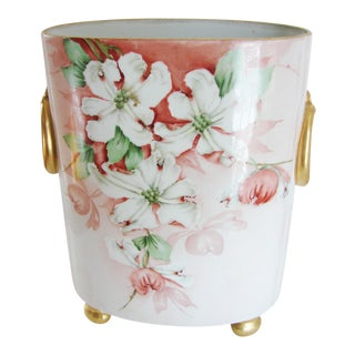 1911 Vintage Cottage Porcelain Floral Vase For Sale