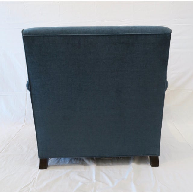 Custom Upholstered Teal Blue Armchair - Image 4 of 7