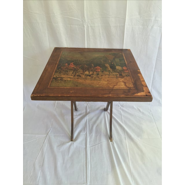 Vintage Riding Scene Card Table - Image 2 of 4