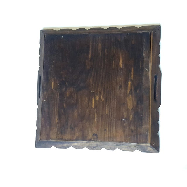 1970s Serving Tray Wood & Tile Hand Carved Wooden Trivet Hot Pad Vintage Kitchen Barware For Sale - Image 5 of 7