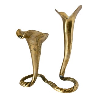 Two Solid Brass Tulip Candlesticks For Sale