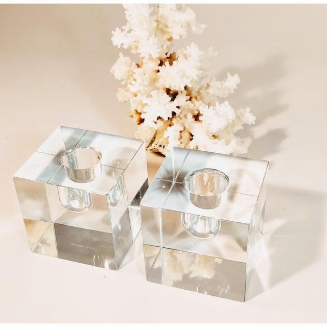 Tiffany and Co. Vintage Tiffany & Co Crystal Candle Holders - a Pair For Sale - Image 4 of 12