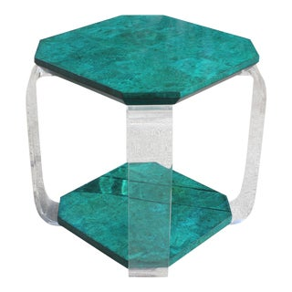 1970s Danish Modern Green Emerald Burwood and Lucite Accent Table For Sale