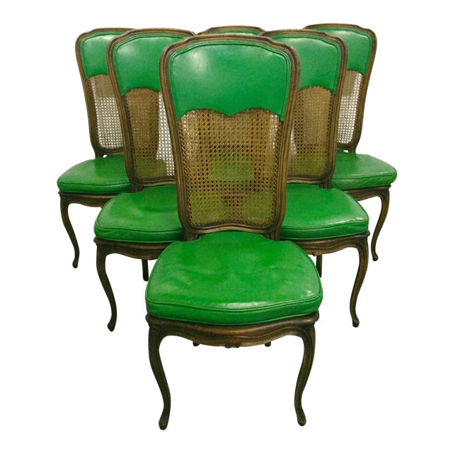 6 French Provincial Caned Dining Chairs-Green Leather Cushions - Image 1 of 8