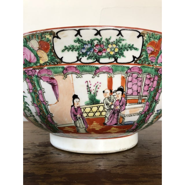 Antique Chinese Rose Medallion Punch Bowl For Sale In Buffalo - Image 6 of 9