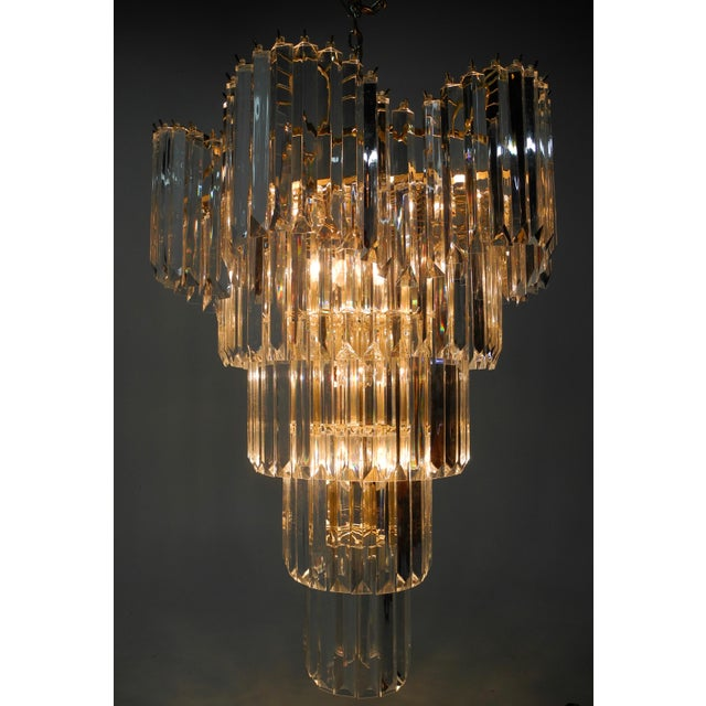 Brass Murano Style Lucite Waterfall Chandelier For Sale - Image 7 of 9