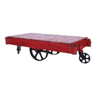 Vintage Red Industrial Cart Trolley Coffee Table