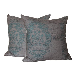Turquoise Distressed Turkish Rug Print Pillow - A Pair For Sale