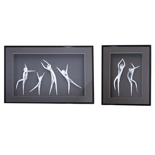 "Mid-Century Modern ""Clay Dancers"" Hanging Shadow Boxes Signed Ellie Nicol - a Pair For Sale"