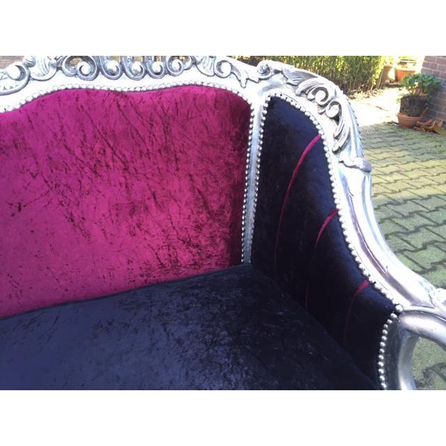 Red & BlackVelvet Baroque Sofa - Image 5 of 8