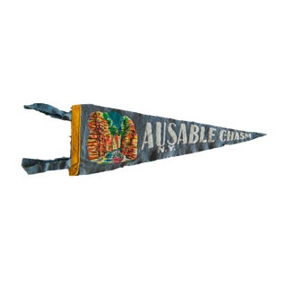 Vintage Ausable Chasm Felt Flag Pennant For Sale