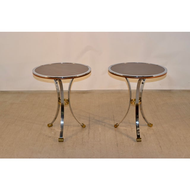 1960s Mid-Century Mahogany and Chrome Side Tables - a Pair For Sale - Image 5 of 12