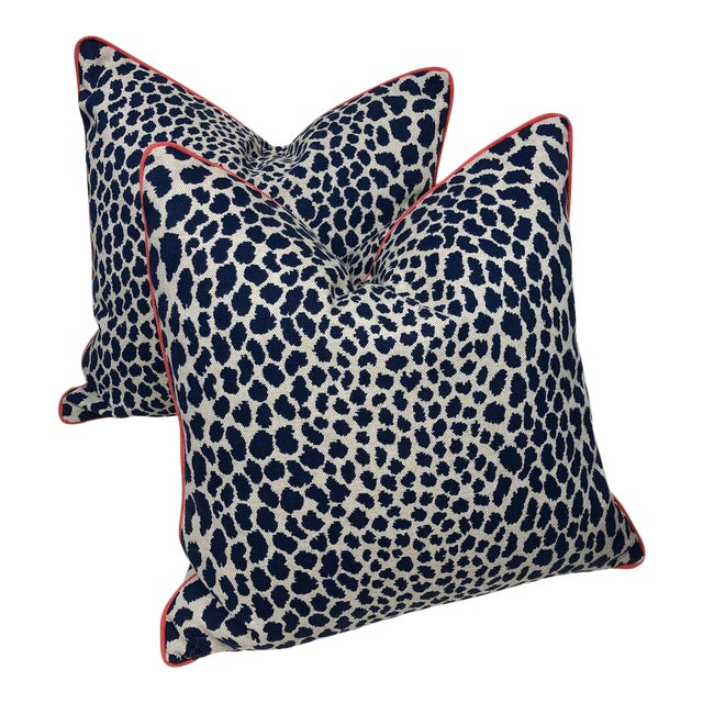 Contemporary Square Animal Print Pillows - a Pair For Sale