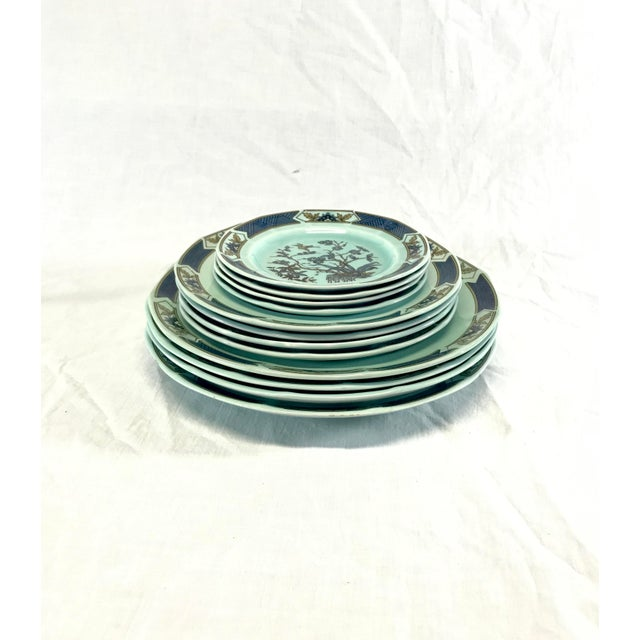 Set of 12 pcs; 4 each dinner plates, salad plates, and bread plates. Wedgwood, Real English Ironstone, Micratex Adams,...