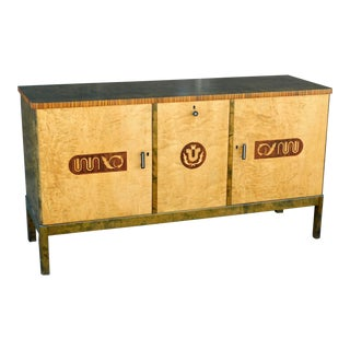 1930s Swedish Art Deco Inlaid Storage Cabinet For Sale