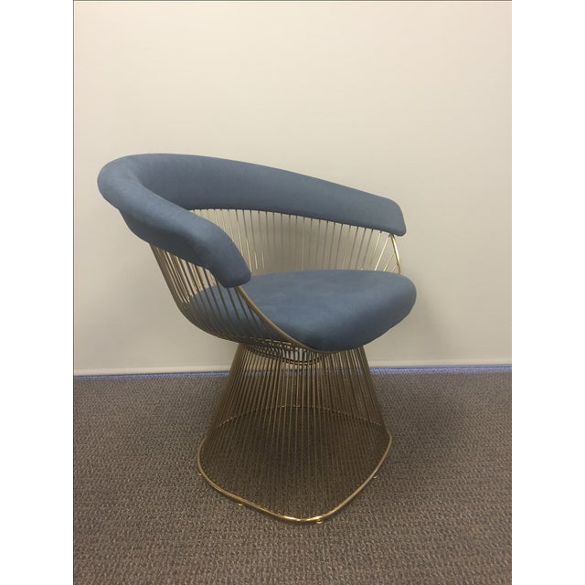 Soleil Style Mid-Century Modern Navy Blue & Gold Accent Chair - Image 2 of 3