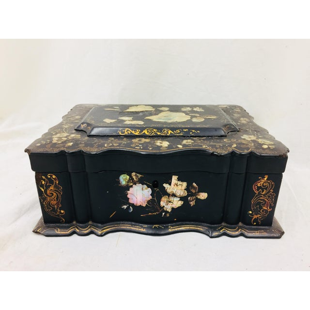 Stunning Antique Mother of Pearl Inlaid Black Lacquerware Chinoiserie Box. Was originally used as a Desk Caddy or Vanity...