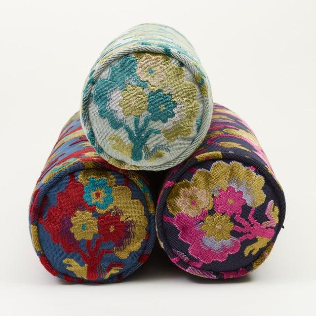 Textile Schumacher Jennie Velvet Bolster Pillow in Blue & Red For Sale - Image 7 of 9