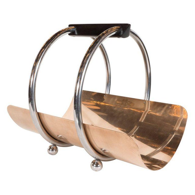 American Art Deco Machine Age Log Holder in Chrome and Copper by Leslie Beaton For Sale - Image 11 of 11