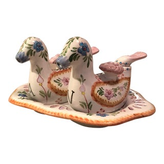 Vintage Hand Painted Pottery Duck Oil Vinegar Cruets - a Pair For Sale