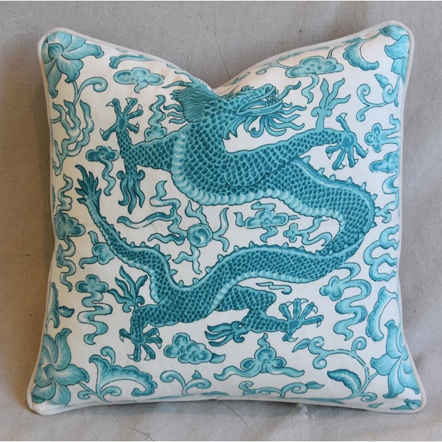 "Cotton Italian Chinoiserie Scalamandre Dragon Feather/Down Pillow 19"" Square For Sale - Image 7 of 7"